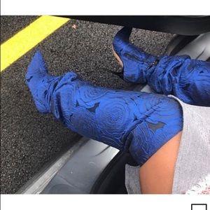Zara Blue Floral Fabric Thigh High Boots